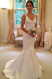 Deep V Neck Backless Vintage Mermaid Sleeveless Wedding Dresses,Bridal Dresses PW329