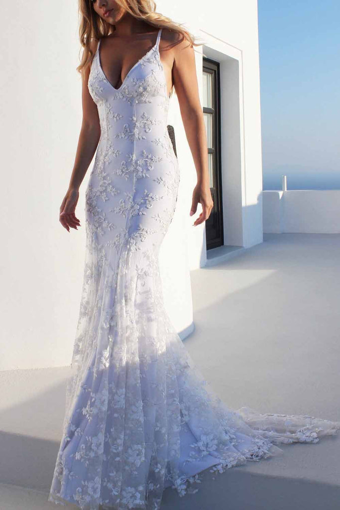 Sexy Backless Off White Mermaid Lace V Neck Wedding Dresses, Long Prom Dresses PW353