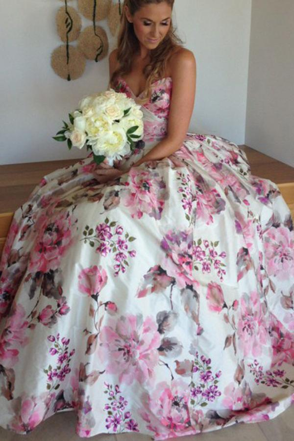 Ball Gown Printed Satin Sweetheart Spaghetti Straps Sleeveless Prom Dress,Wedding Dress PH684