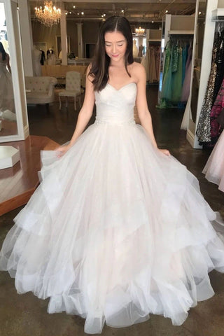 Off White Sweetheart Puffy Long Bridal Dress, Princess Wedding Gown W1090