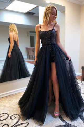 Black A Line Side Slit Prom Dress with Sequins, Spaghetti Straps Evening Dress P1161