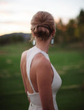 Simple Cheap Open Back Affordable Long Chiffon White Wedding Brides Dresses PM126