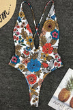 One Piece High Leg Low Back Floral Deep V Neck Swimsuit SO481