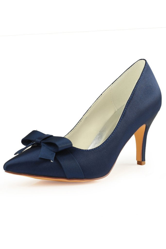 Navy Blue High Heels Wedding Shoes With Bowknot Fashion Satin Wedding Shoes Uk L 942