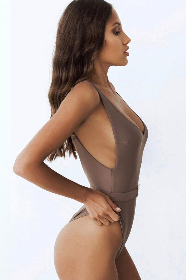 One Piece Low Back High Leg Belted V Neck Swimsuit SO482