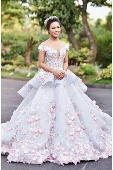 Floral Ball Gown Off the Shoulder Layered Custom Made Quinceanera Dress Wedding Dress