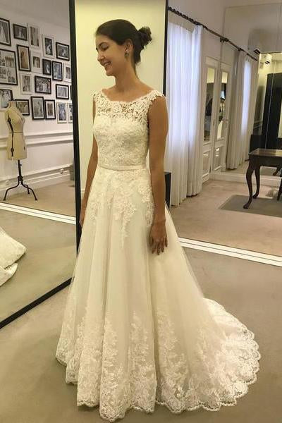 A Line Lace Appliques Tulle Ivory Scoop Long Wedding Dresses uk,Cheap Bridal Dresses PW200