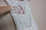 Simple Mermaid Lace Appliques Ivory Cap Sleeves Button Long V Neck Wedding Dresses uk PH856