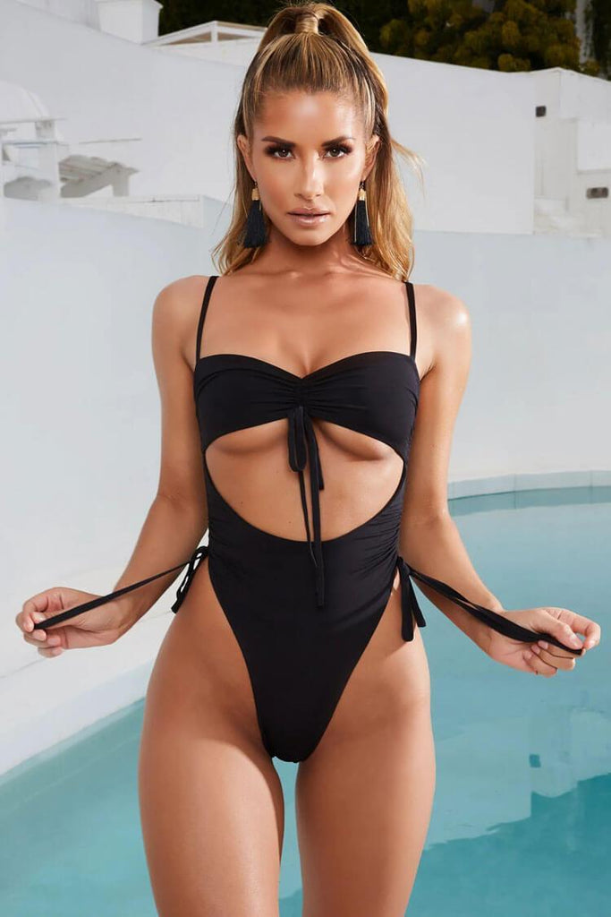 One Piece Solid High Leg Drawstring Straps Thong Swimsuit SO352
