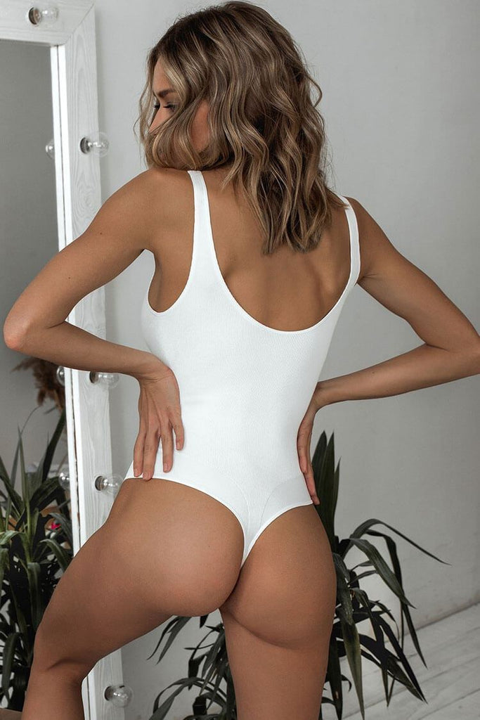 One Piece Solid Ribbed High Leg Thong Swimsuit SO413
