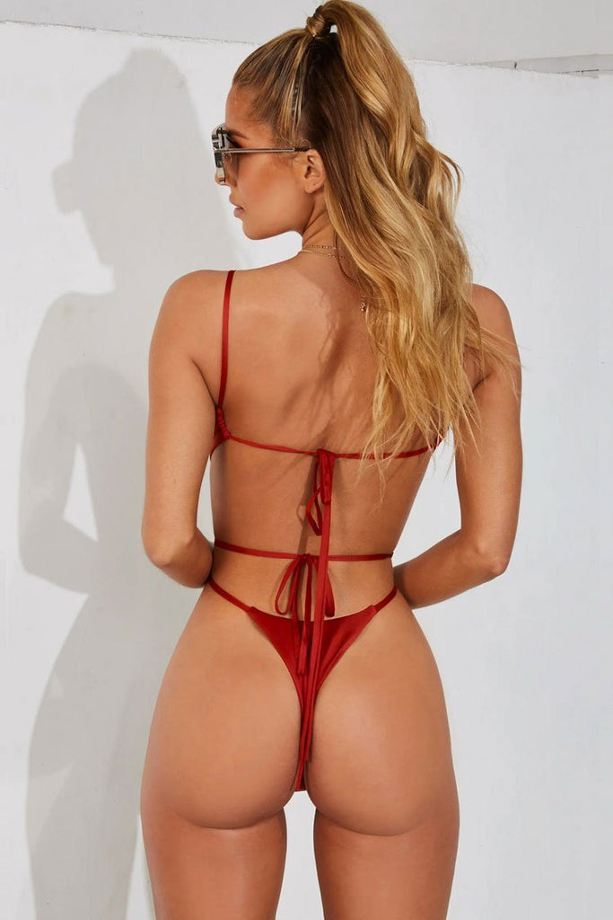 One Piece Solid Self Tie Strappy Cutout High Leg Thong Swimsuit SO409