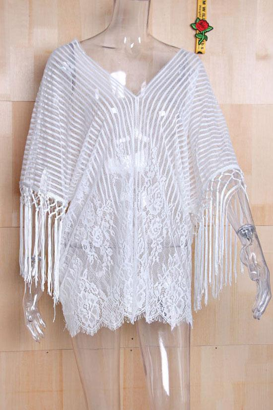 Tassel Eyelash Stripe V Neck Lace Sheer Cover Up BS19
