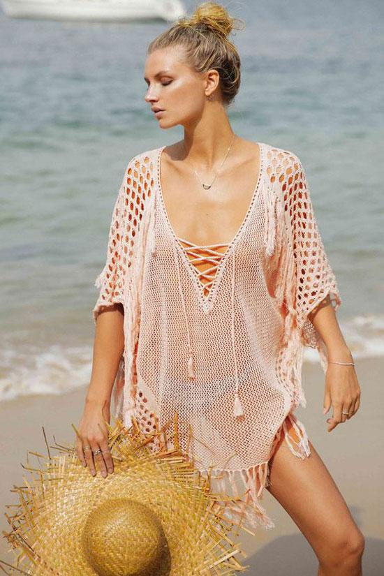 Chic Tassel Hollow Out Deep V Crochet Cover Up BS16