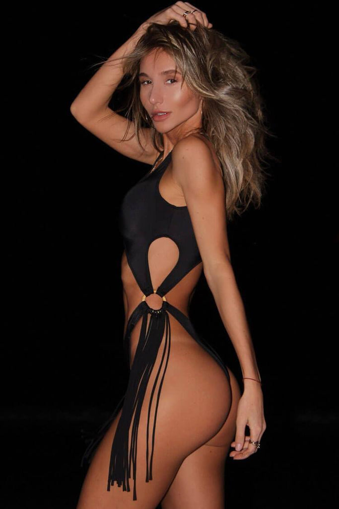 One Piece Tassel Side High Leg Cutout Swimsuit SO488