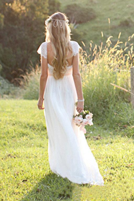 Beach A-Line Cap Sleeves Backless Lace Summer Scoop Open Back Ivory Wedding Dress PM700