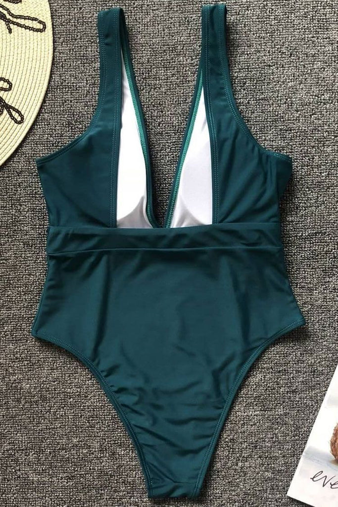One Piece Vintage Solid Belted Deep V Neck Swimsuit SO480