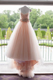 High Quality Ball Gown Ruffles Pink Sweetheart Wedding Dress Waist with Handmade Flowers PH683