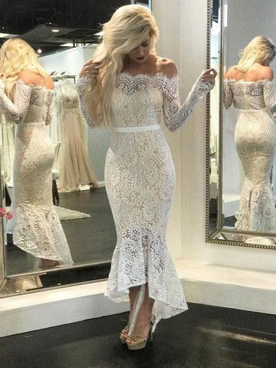 Mermaid Ivory Straight Across Floor-Length Long Sleeve Appliqued Lace Wedding Dresses PH473