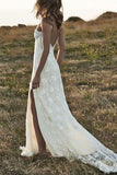 Boho Backless Front Split Romantic Off-the-Shoulder Ivory Lace Beach Bling Wedding Dress PM699