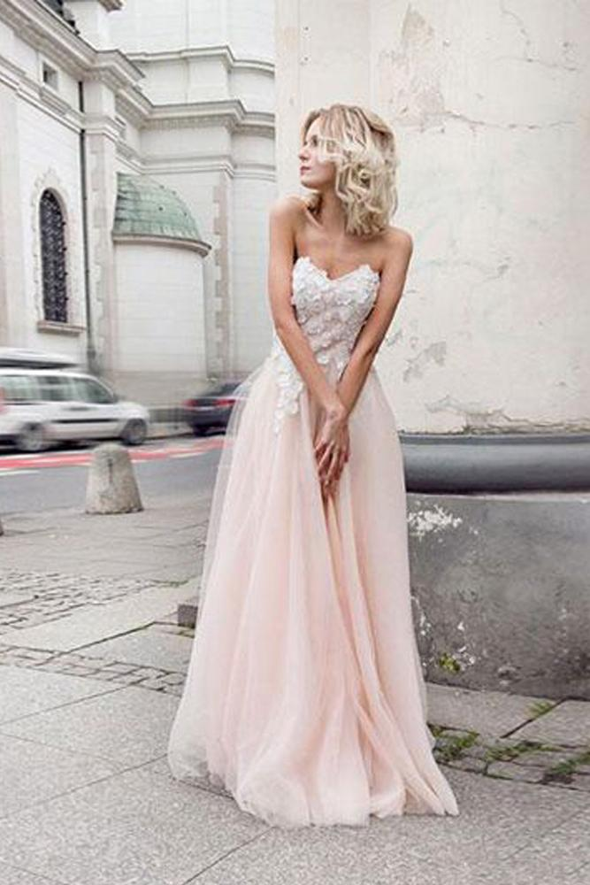 A Line Sweetheart Tulle Pink Prom Dresses with Appliques, Beach Wedding Dresses uk PH970