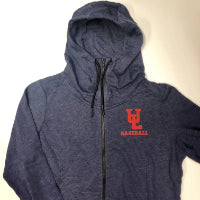 Ladies New Era Tri-Blend Fleece Navy Heather Baseball Full Zip Hoodie
