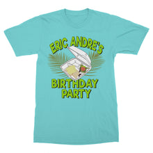 Load image into Gallery viewer, teal canvas t-shirt with illustrated Eric Andre Birthday Party design