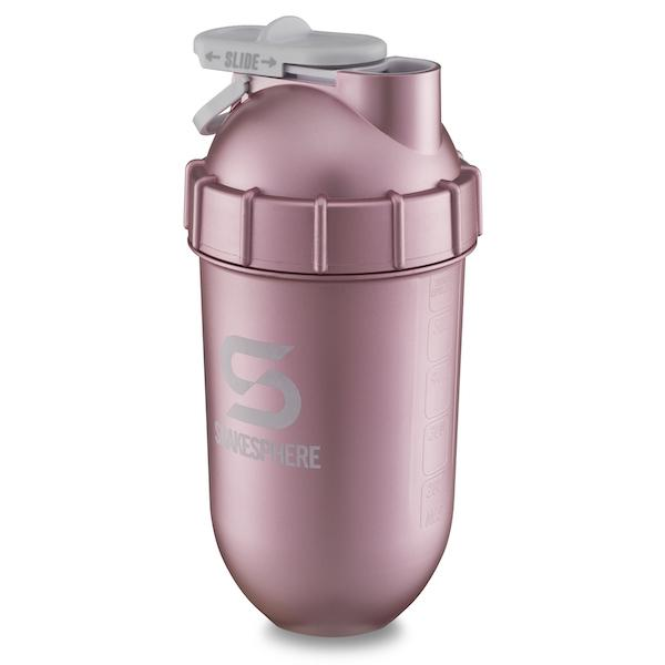 700mls ShakeSphere Tumbler Rose Gold With Metallic Finish and White Logo - Free Delivery Included