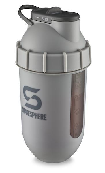 700mls ShakeSphere Matte Grey Tumbler View black window, grey logo