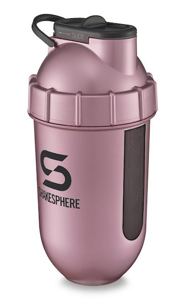 24.6 Fl Oz ShakeSphere Tumbler View Rose Gold/Black Logo/Black Window