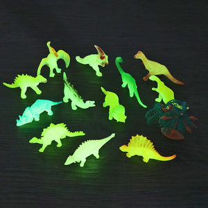 Luminous Mini Dinosaur Figures (Pack of 12)