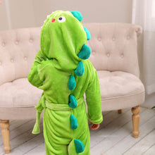 Load image into Gallery viewer, Dinosaur Flannel Hooded Bathrobe