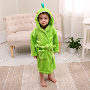 Dinosaur Flannel Hooded Bathrobe