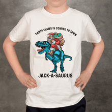 Load image into Gallery viewer, Santa Claws Personalized Dinosaur T-Shirt