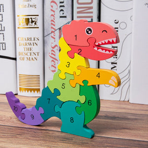 Wooden Dinosaur Number Puzzle