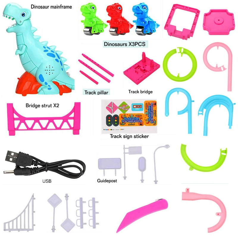 LED Race Toy Musical Dinosaur
