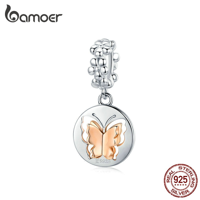 bamoer Biocolor Rose Gold Color Butterfly Pendant Charm fit for Original Women Silver Bracelet Sterling Silver Jewelry SCC1250