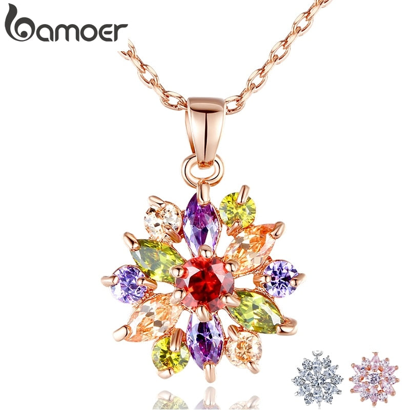 BAMOER  Rose Gold Color Necklaces Pendants with Multi Color AAA Cubic Zircon For Women Christmas Gift JIN029