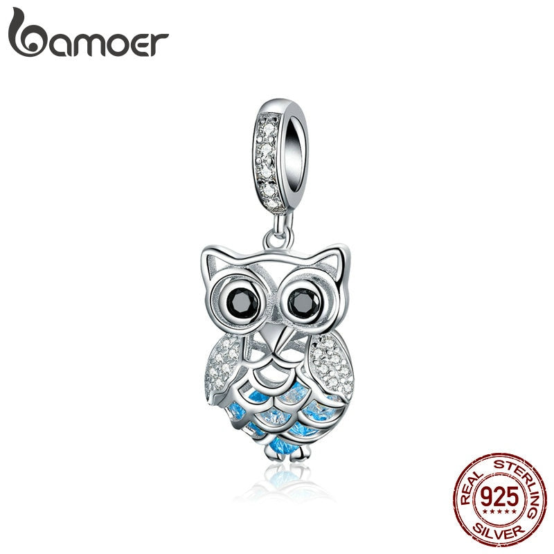 BAMOER New Arrival 925 Sterling Silver Crystal Owl Cubic Zircon Animal Charms fit Beads Bracelets & Bangles DIY Jewelry SCC1124