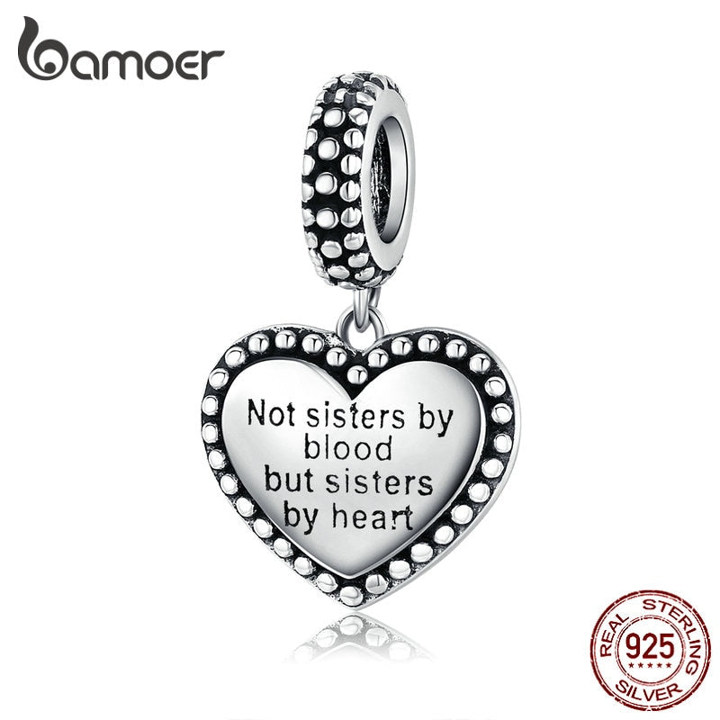 "bamoer 925 Sterling Silver Engraved Heart Pendant Charm for Women Bracelet ""not sister by blood, but sister by heart"" SCC1396"