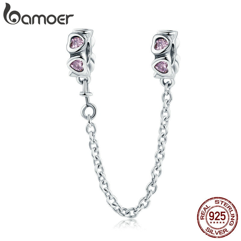 BAMOER 100% 925 Sterling Silver Sweet Inspiration, Pink Heart Safety Chain Stopper Charm fit Charm Bracelet DIY Jewelry SCC562