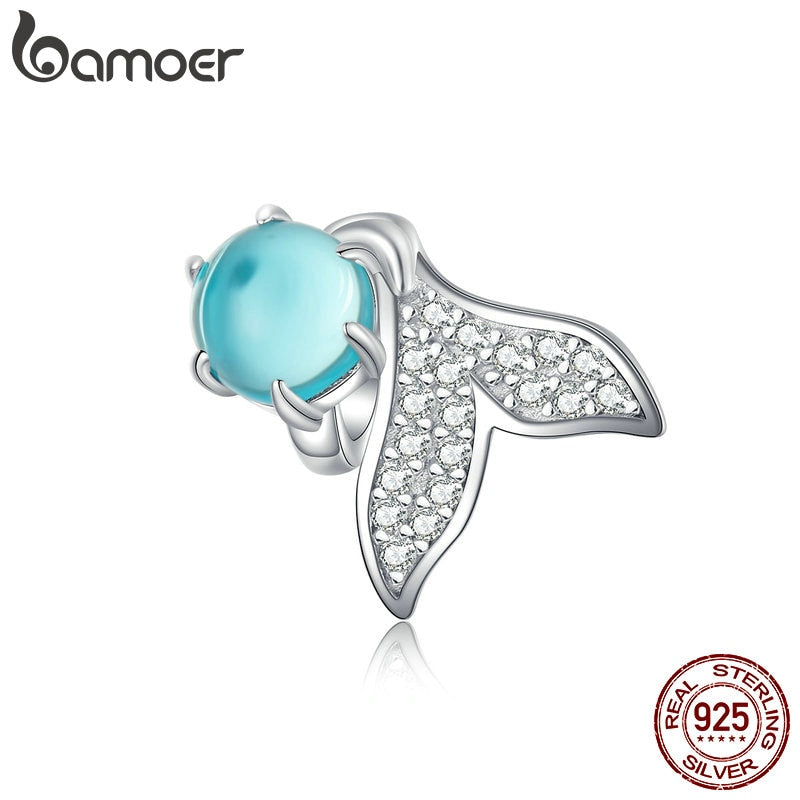 bamoer Mermaid Tail Charm fit Original Silver 925 Bracelet & Bangle Blue Tear European Charms DIY Jewelry Girl Gifts SCC1226