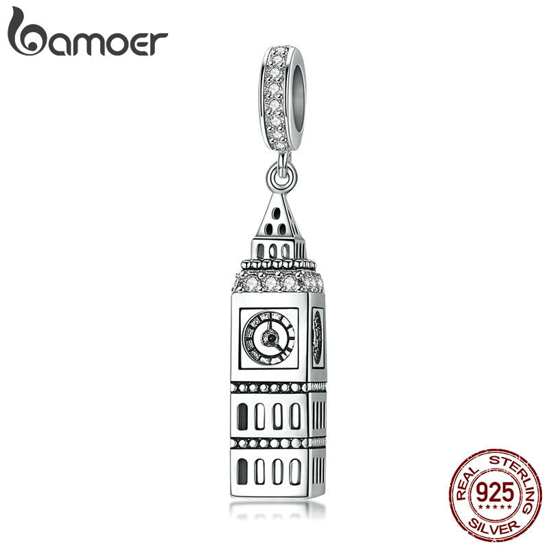 BAMOER New Collection 925 Sterling Silver British Big Ben Building Pendant Charm fit Charm Bracelets Jewelry Making SCC868