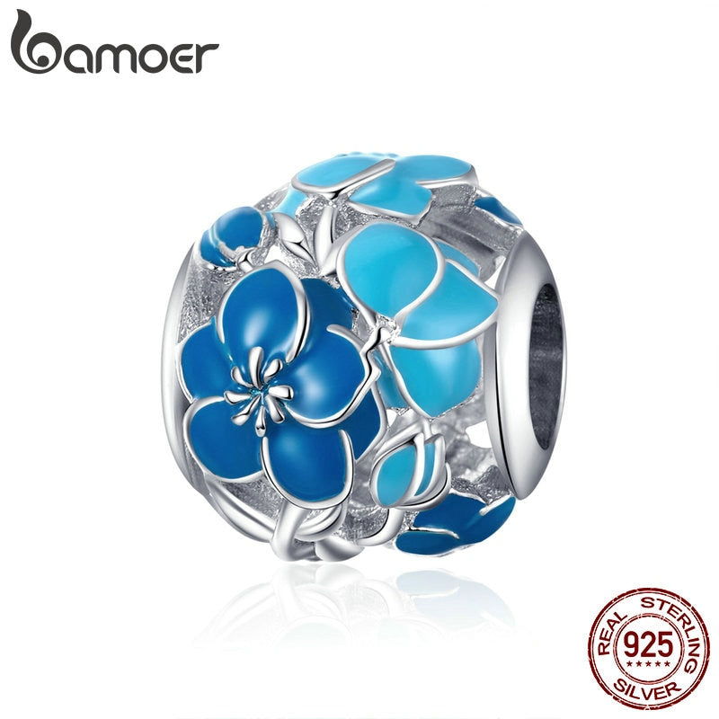 bamoer Blue Enamel Flower Round Beads Sterling Silver 925 Charms for Women European Luxury Brand Snake Bracelets BSC087