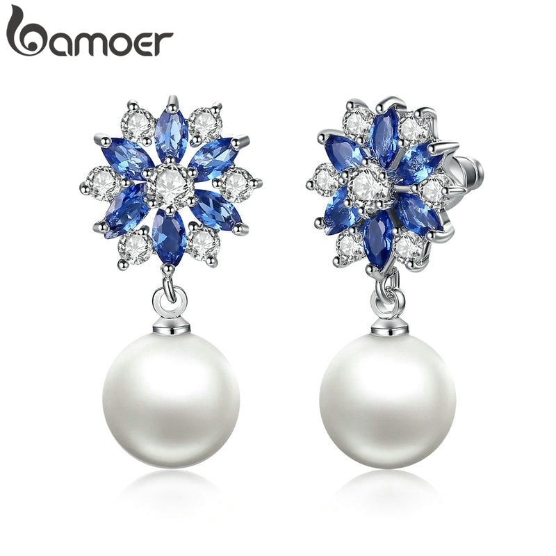 BAMOER Silver Color Blue Crystals Simulated Pearl Dangle Earrings Drop Earrings for Women Earrings Engagement Jewelry JIE069