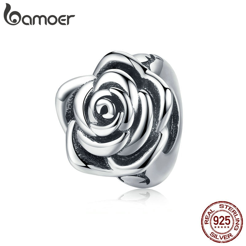 BAMOER Romantic New 925 Sterling Silver Rose Flower Buds Beads fit Charms Bracelets DIY Beads Sterling Silver Jewelry SCC1101