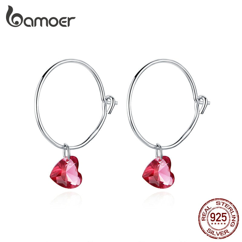 bamoer Big Round Circle Earrings with Red Heart Stone Charm Women Dangle Earings 925 Sterling Silver Fashion Jewelry BSE317