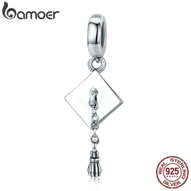BAMOER Authentic 925 Sterling Silver Graduate Trencher Cap Long Tassel Pendant Charm fit Women Bracelet DIY Jewelry Gift SCC459