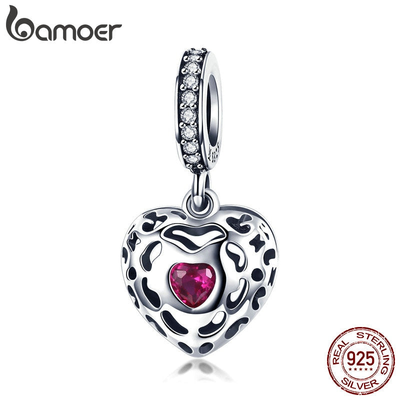 BAMOER Romantic 925 Sterling Silver Happiness Heart Pink CZ Pendant Charms Fit Original Bracelets Necklaces DIY Jewelry SCC1007