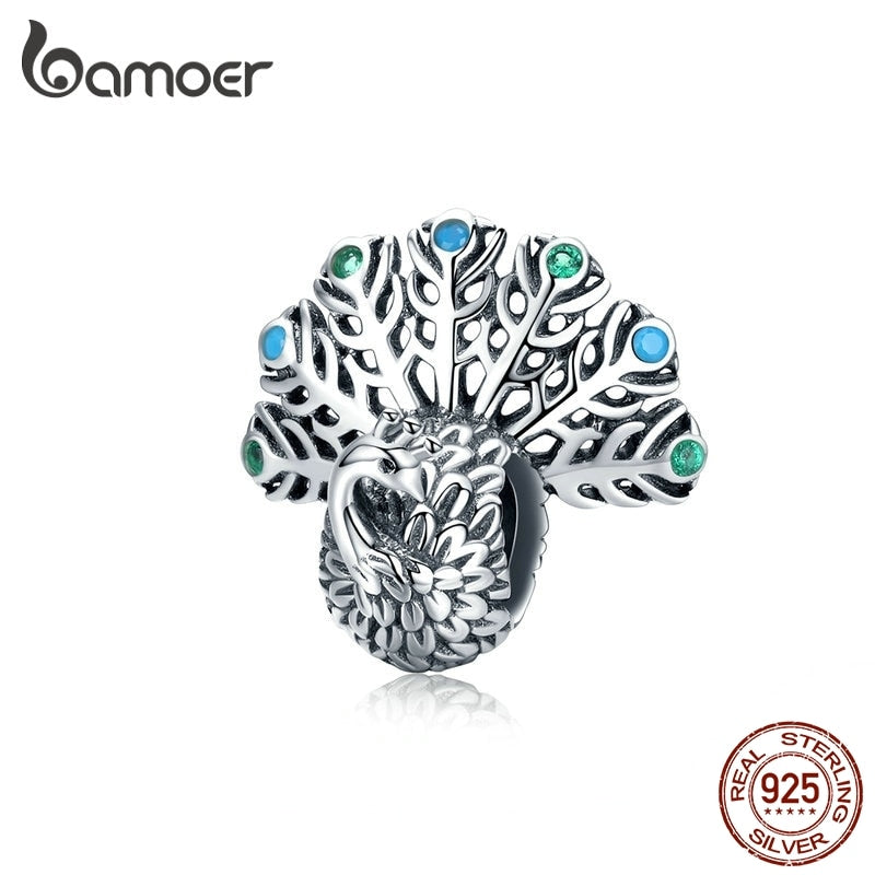 bamoer Cute 3D Opening Peacock Metal Beads Charm fit Luxury Brand Original Silver 925 Bracelet Bangle 3mm Jewelry SCC1260