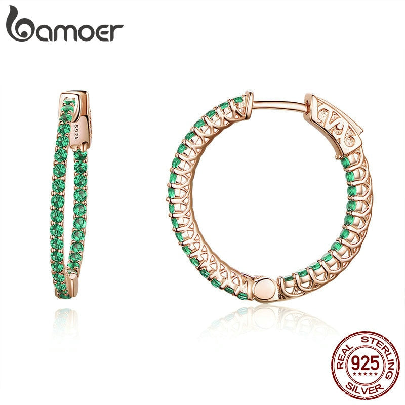 BAMOER Genuine 925 Sterling Silver Classic Round Circle Green CZ Stud Earrings for Women Wedding Engagement Jewelry SCE511